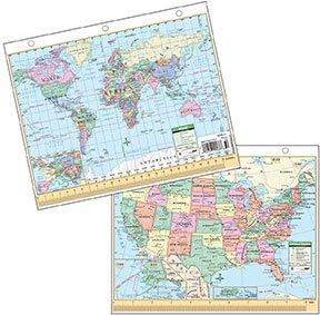 Kurtz Bros US World Political Laminated Map - 8 1 2 x 11 us map
