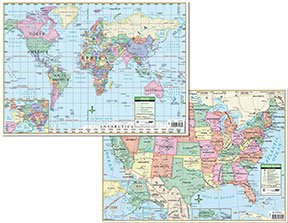 Kurtz bros usworld political desk pad maps great for all purpose student use the maps clearly define capitals political boundaries and time zones includes europe inset maps gumiabroncs Gallery