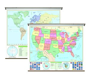 Kurtz Bros US World Beginner Combo Roller Wall Map Set
