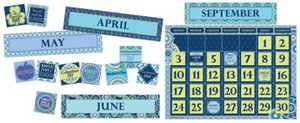 Blue Harmony Calendar Bulletin Board Set