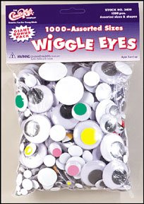 Wiggle Eyes 1000 Piece Assorted Pack John R Green Co